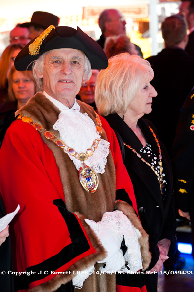 The Mayor of King's Lynn and West Norfolk Councillor Barry Ayres at the opening of Lynn Mart February 2015.